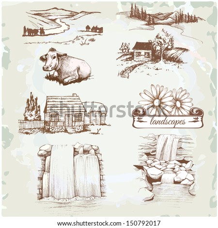landscape, agriculture, farming, sketch drawing - stock vector