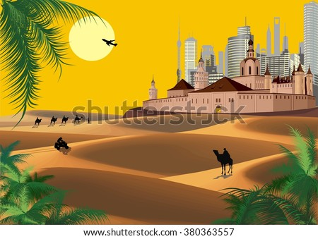 Landscape - ancient fortress in the desert and a caravan of camels. Vector illustration - stock vector