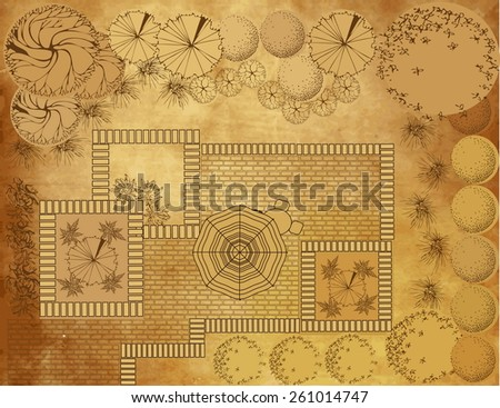 Landscape architectural project on vintage background, garden plan with tree symbol - stock vector