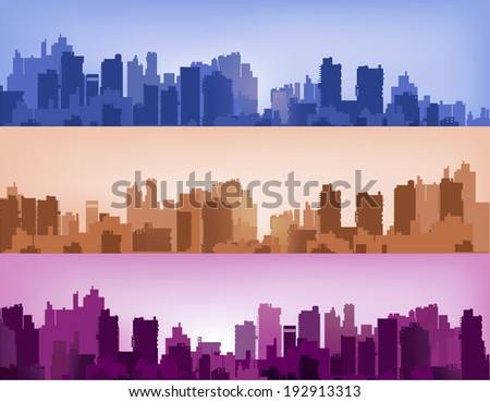 Landscape City home different versions of different colors - stock vector