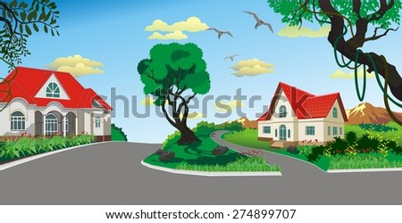 Landscape - countryside village in the vector - stock vector