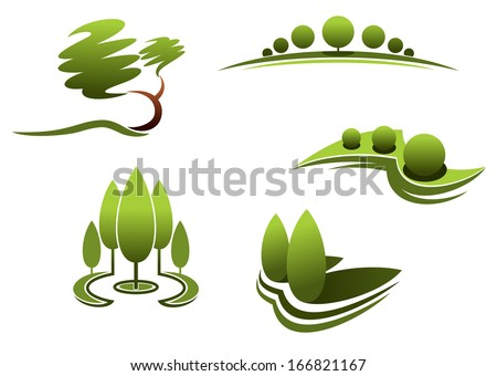 Landscape design elements:trees, shrubs, plants isolated on white background - stock vector