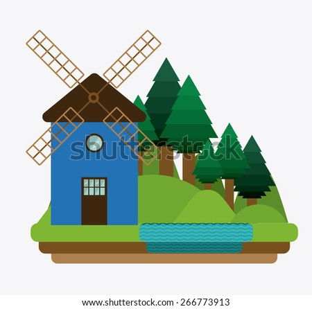Landscape design over white background, vector illustration - stock vector
