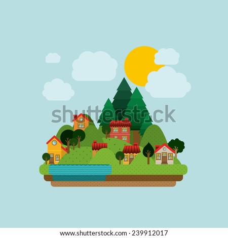 Landscape design, vector illustration. - stock vector