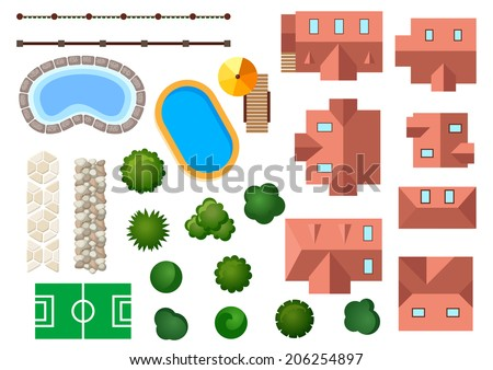 Landscape, garden and architectural elements with houses, swimming pools, treetops, bushes, steps and borders isolated on white - stock vector