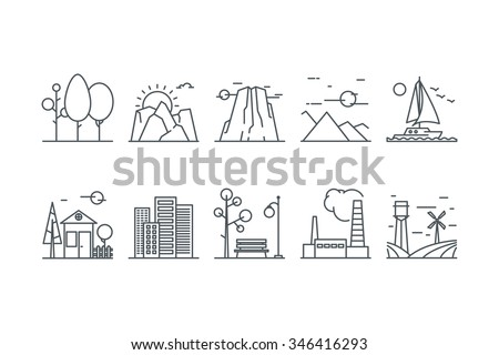 Landscape icons on a white background. Line art. Stock vector. - stock vector