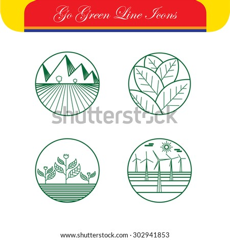 landscape & nature vector icons - abstract logo templates & line symbols. This set also represents monograms, farms & fields, windmills & wind turbines, growth, eco concepts, rural agriculture - stock vector
