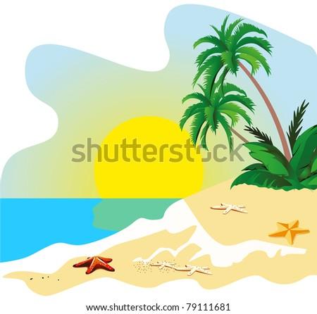 Landscape of a coast of tropical island vector - stock vector