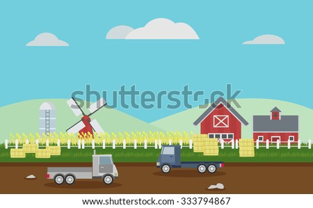 landscape of rice fields farm with barns, windmill and road vector - stock vector