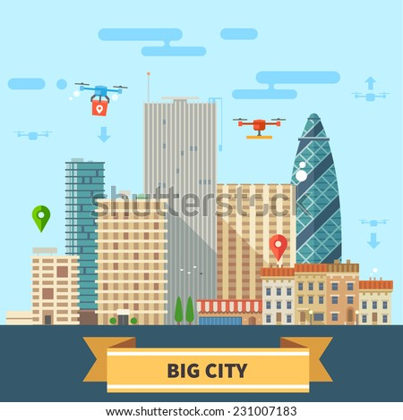 Landscape of the future. Modern technologies Big city, skyscrapers and drones flying in the sky. Vector flat illustration - stock vector