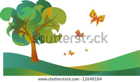 landscape of tree with butterflies - stock vector