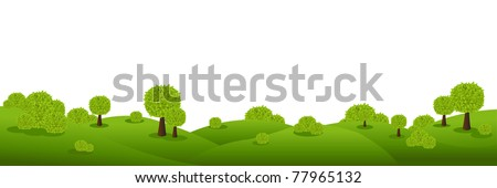 Landscape Panorama, Isolated On White Background, Vector Illustration - stock vector