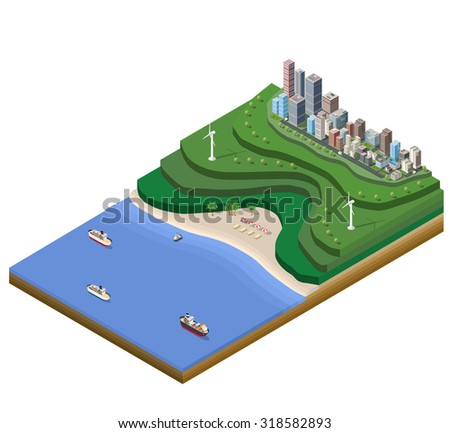 Landscape plan big city on the map with the mountains, the beach and the sea surface with ships - stock vector