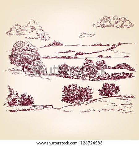 Landscape sketch drawing - stock vector
