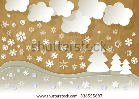 Landscape snow crystal diamonds on a crumpled paper brown background. - stock vector