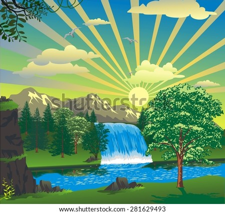 landscape - sunrise over a waterfall - stock vector