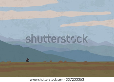 landscape travel nature mountains riders horse. One rider and wild landscape. Color vector illustration. EPS8 - stock vector