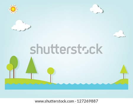 landscape with a lake and trees - stock vector