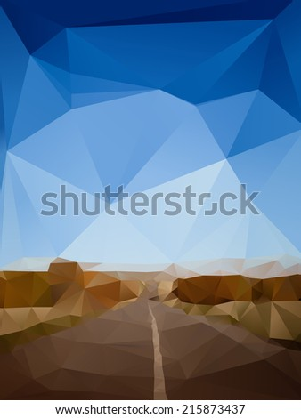 Landscape with a long road. Abstract triangulated illustration - stock vector