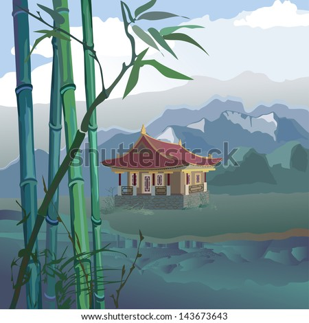 landscape with a pagoda, bamboo and mountains on the banks of the river - stock vector