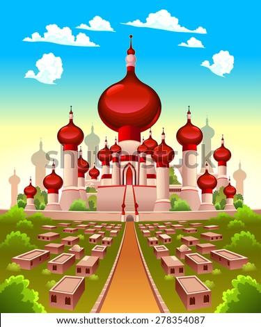 Landscape with Arabian castle. Vector cartoon illustration - stock vector
