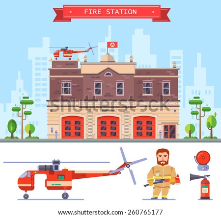 Landscape with building fire station. Protection of life, health and property of people. Vector flat illustration - stock vector