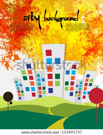 Landscape with building. Vector - stock vector