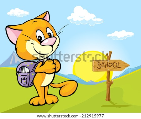landscape with cat and directional signs  - the way to school - stock vector