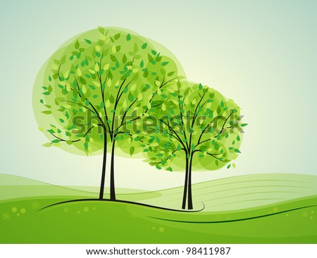 Landscape with deciduous trees - stock vector