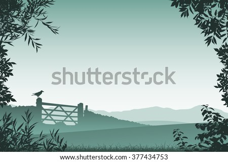 Landscape with Farm Gate and Floral Border and Leaves - stock vector