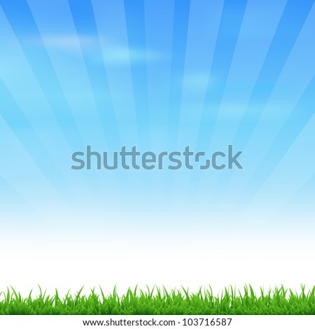 Landscape With Grass And Sky, Vector Illustration - stock vector