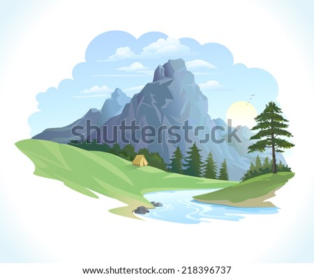 LANDSCAPE WITH HILLS AND RIVER - stock vector