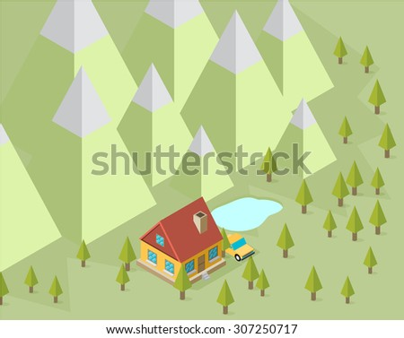 Landscape with house and trees in the isometric - stock vector
