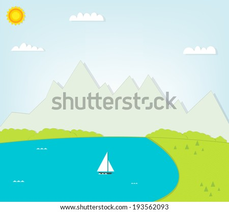 landscape with lake and mountains - stock vector