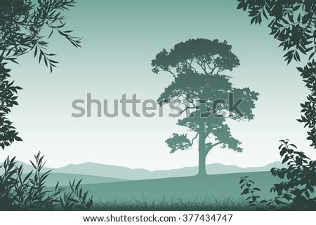 Landscape with Lone Tree  and Floral Border and Leaves - stock vector