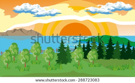 Landscape with pine, fir, grass on the shore of a lake under a blue cloudy sky with sun. - stock vector