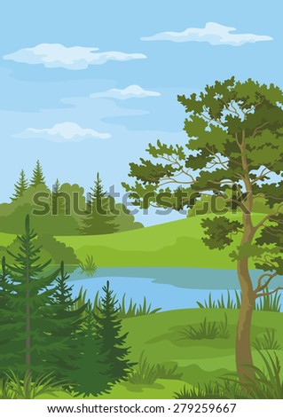 Landscape with Pine, Fir Trees and Green Grass on the Shore of a River Lake under a Blue Cloudy Sky. Vector - stock vector