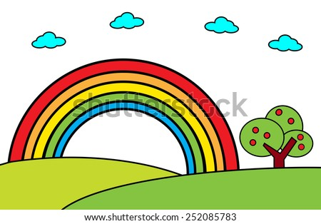Landscape with rainbow and tree -Vector cartoon illustration - stock vector