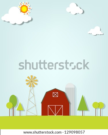 landscape with red farm windmill and silos - stock vector
