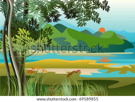 Landscape with river and high hills of the jungle - stock vector