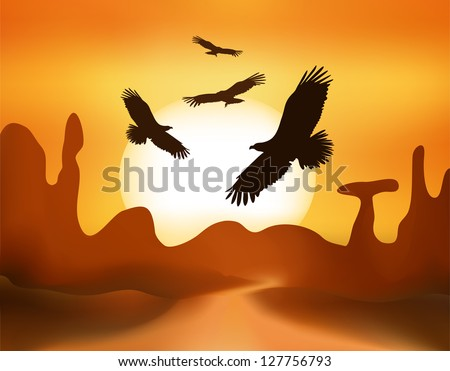 landscape with road and mountains at sunset - stock vector