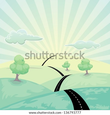 landscape with road and tree under cloudy sky - stock vector