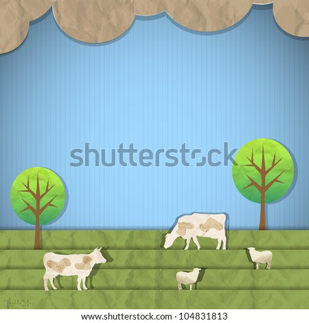 Landscape with sheeps,cows.Vector paper art - stock vector