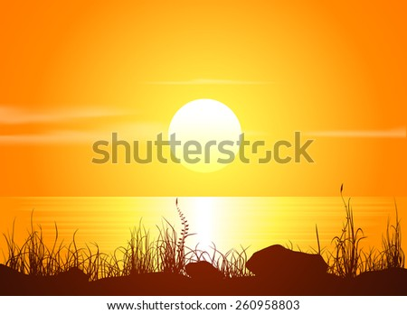Landscape with sunset at the seashore. Grass silhouette over bright water. Vector illustration. - stock vector