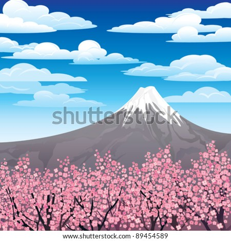 Landscape with volcano and pink japanese trees on a cloudy sky - stock vector