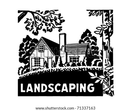 Landscaping - Retro Ad Art Banner - stock vector
