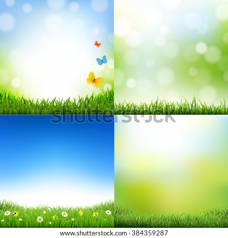 Landscaps Set With Gradient Mesh, Vector Illustration - stock vector
