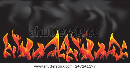 languages fire on a black background - stock vector