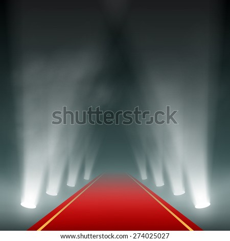 Lanterns illuminate the red carpet. Vector image. - stock vector