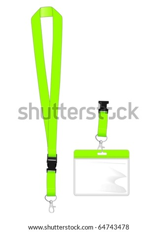 Lanyard with safety clip and name tag holder for ID - stock vector